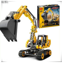 2017 New Track mobile excavator Toy building blocks kids Technology Series Site building Compatible with Legoe gift decool 3359(China)