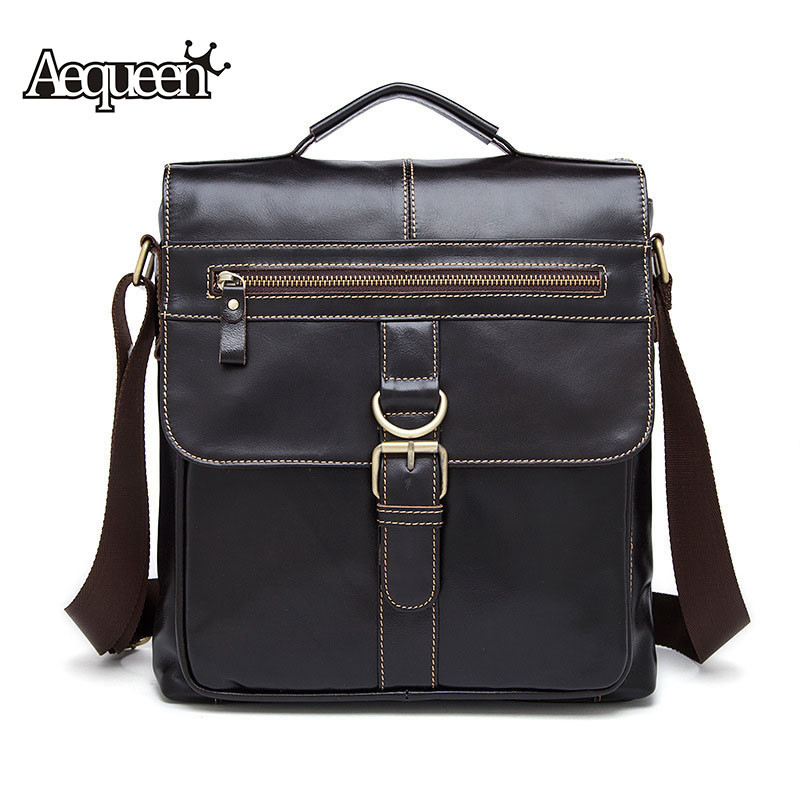 Aequeen Genuine Leather Male Bags Fashion Male Crossbody Messenger Bags Men Small Briefcase Business Shoulder Bag Handbag<br><br>Aliexpress