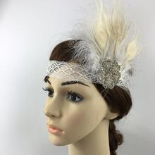 Fashion New Elegant Feather Headband 1920s Great Gatsby Headpiece Fancy Dress Costume Party Hair Band(China)