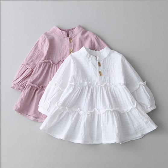 Pink White 2017 Spring Fall Dress Baby Girl Long Sleeved Cotton Dresses Clothes wholesale 5pcs/lot<br><br>Aliexpress