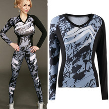 Hot Womens Fashion Print Long Sleeve Workout Fitness Bodycon T-shirts Tops For Female Casual Slim Elastic Active Tees Shirts XL(China)