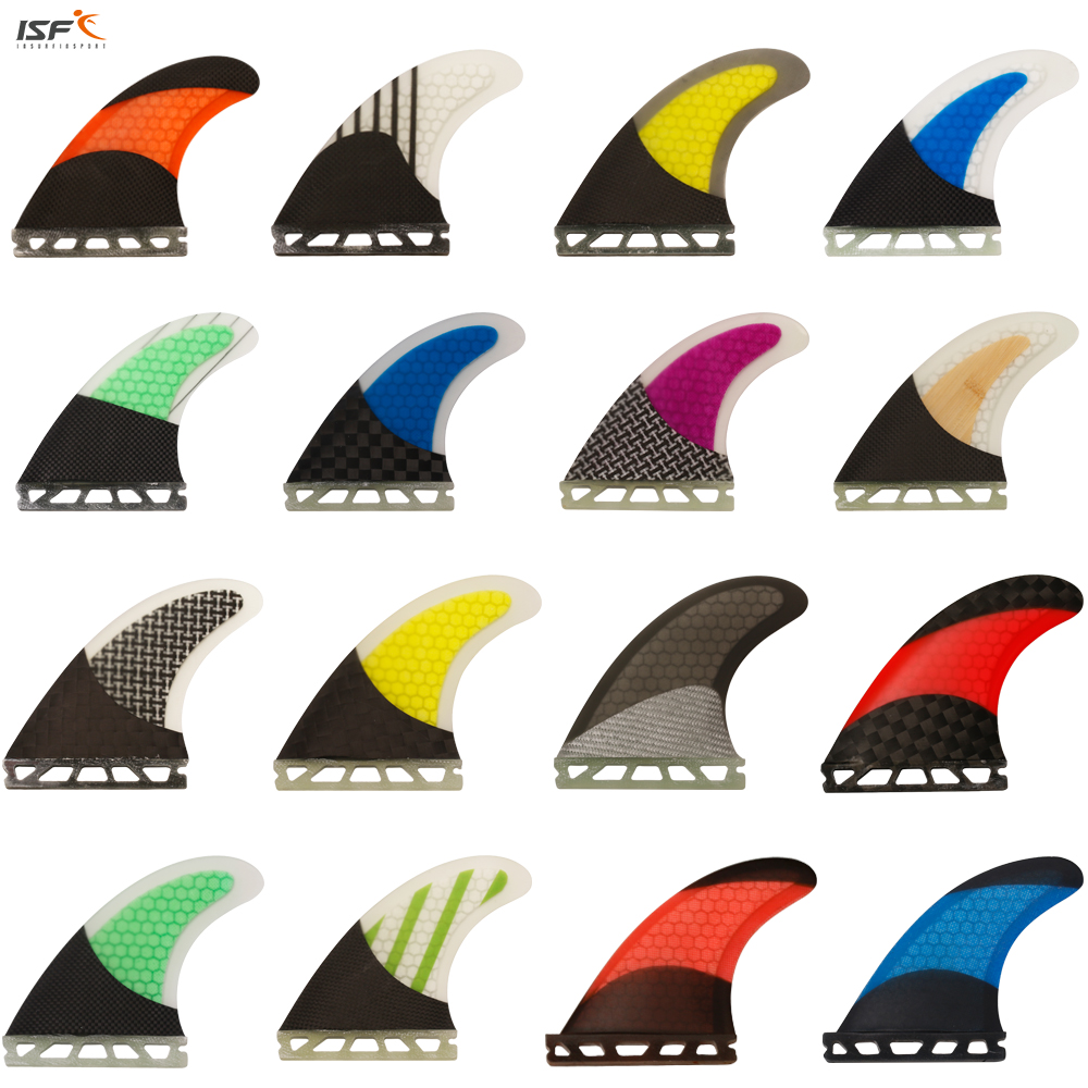 ISF high quality carbon fiber honeycomb future surf fins thruster quilhas surf future surfboard fins sup fins M5<br>