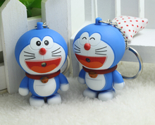 Hot Sale New 2017 Novelty Toys Cartoon Anime Doraemon Figures LED Keychains Doraemon Toys Lighting Sounds Creative Gifts