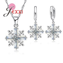 JEXXI Winter Fashion Clear Crystal Snowflake Women Necklace Earrings Jewelry Set Beautiful Christmas Celebration Gifts Free Ship