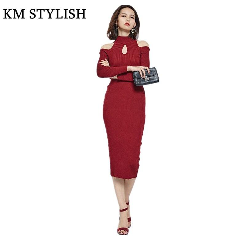 RED Black Turtleneck Leakage Shoulder Mid-Calf Knitted Dress New Winter 2017 Slim Package Hip Bottom Pencil Dress Long SectionsÎäåæäà è àêñåññóàðû<br><br>