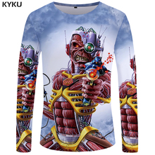 Buy KYKU Iron Maiden Long sleeve T shirt Skull Tops Gun 3d T-shirt Rock Clothes Clothing Funny T shirts Men Casual Punk for $7.84 in AliExpress store