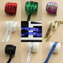 10 Yards Multicolor Sequin Elastic Stretch Lace Trim Mesh Lace Ribbon Fabric,DIY Waistband Headwear Home Wedding Decoration(China)