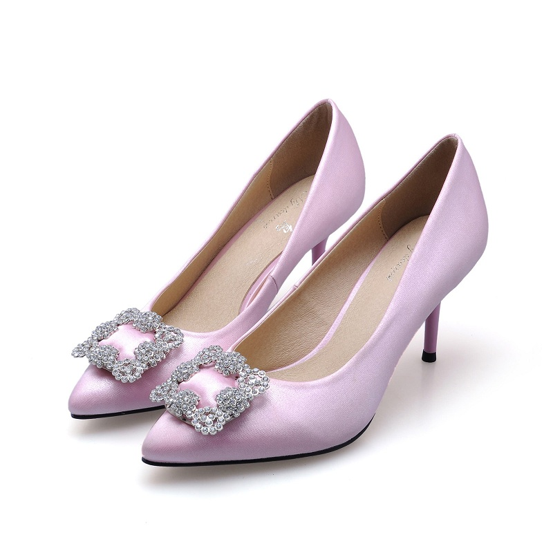 2016 New Genuine Leather shoes Sexy womens Pumps Shoes Woman Thin Heels Quartet buckle silk Pointed Shoes Brand Women Pumps<br>