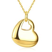 Hot Best Selling Japan And South Korea Fashion Double Heart Pendant Personality Gold Colour Necklace Women Jewellery Accessories