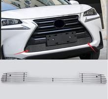 Car styling fit for Lexus NX 2015-2016 high quality Stainless steel Car front bumper Mesh Grille Around Trim Racing Grills(China)