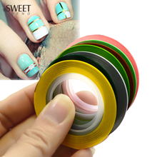 SWEET TREND 7 Rolls/Set Nail Art Colorful Fluorescent Design Nail Art Striping Tape Line 1mm DIY Tip Manicure Decal Tool BENC397