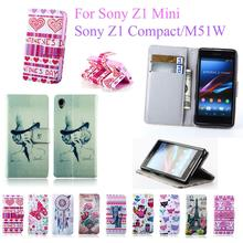 PU Leather Case For SONY Xperia Z1 mini D5503 M51W Z1 Compact Book Style Flip Stand Leather Cover with Card Holder Phone Case