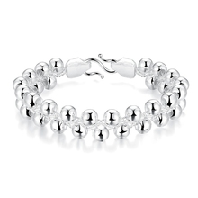 JEXXI Fashionable Woman Ball Beads Strand Bracelets 925 Sterling Silver Smooth Bangles Jewelry Trendy Design Top Quality