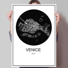 Italy Venice World map City Modern poster Abstract print picture oil painting Canvas Coated paper Cafe Living Room Decor Home