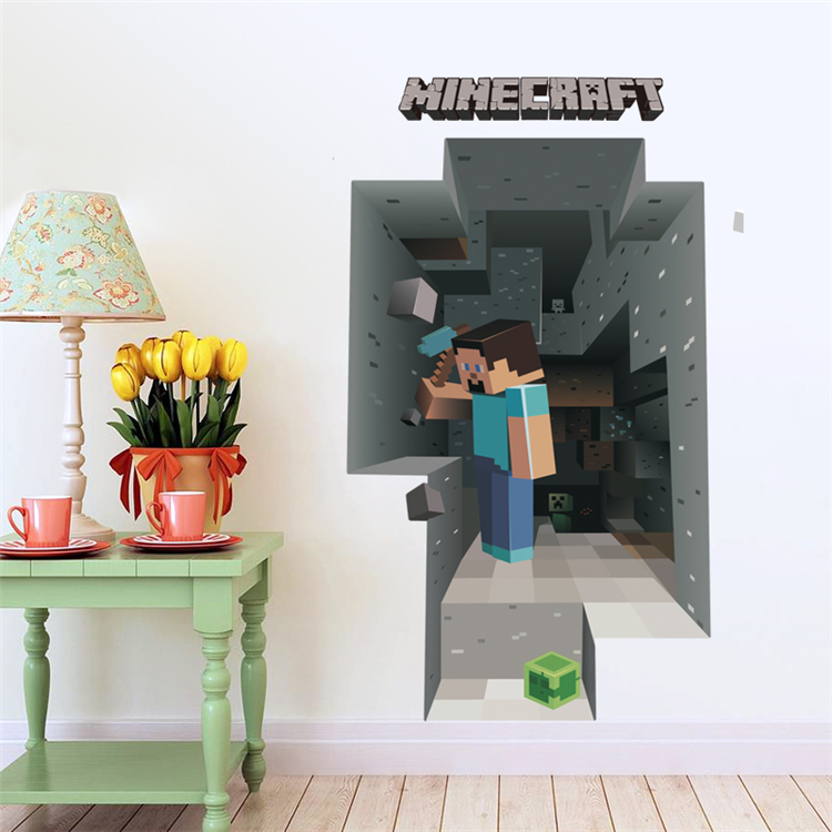 HTB15gLgb3vD8KJjy0Flq6ygBFXae - Removabled 3D Wallpaper Decals Minecraft Wall Stickers For Kids Rooms  Minecraft Steve Home Decor Popular Games Mural