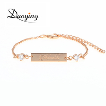 Buy DUOYING 25*6 mm Bar Delicate Crystal Baby Bracelet Rose Gold Color Personalized Custom Name Engraved Bracelets Jewelry Etsy for $7.25 in AliExpress store