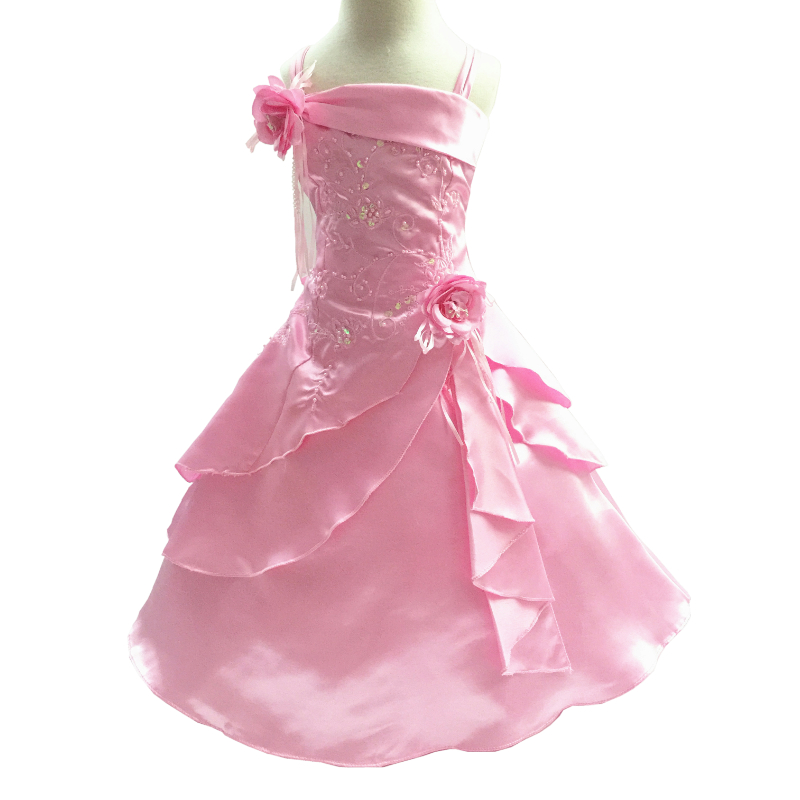 Free Shipping 4-10 Years Girl Party Dress Embroidery Ankle Length Pink Flower Girl Dresses for weddings Kids Evening Gowns Satin<br>