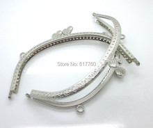"Free Shipping-1PC Silver Tone Heart Purse Bag Metal Frame Kiss Clasp Lock Handle 16.5x8.5cm(6 4/8""x3 3/8"") J2631"