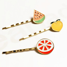 Timlee H066 Cute Cartoon Fruit Watermelon Peach Orange Metal Barrettes Hair Pins Clip Hair accessory wholesale