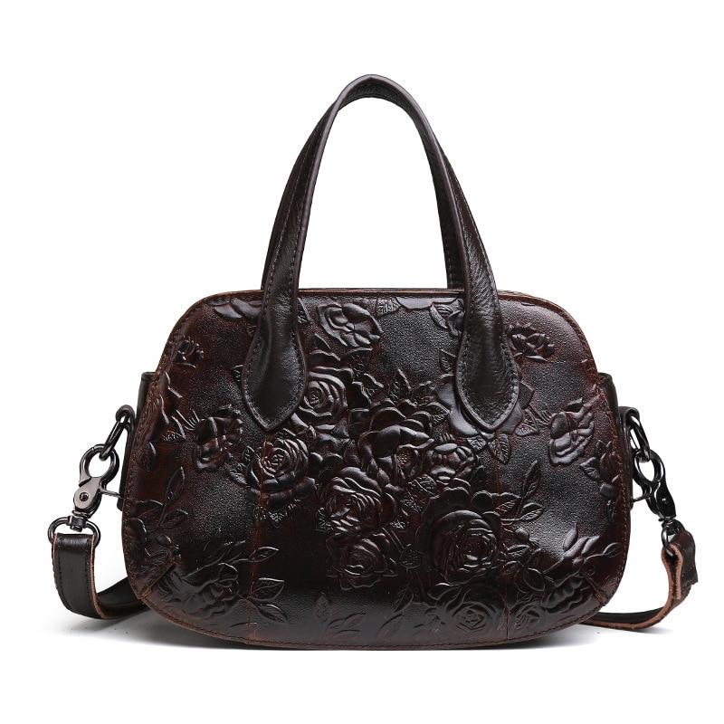 Women Genuine Leather handbag inclined shoulder bag womens One shoulder embossing handbag restoring ancient ways 24.5*8*17.5cm<br>