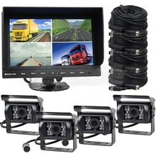 DIYSECUR 9Inch Split QUAD Car Monitor +4 x CCD Night Vision Rear View Camera Waterproof for Truck Bus Video Surveillance System