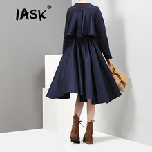Buy IASK 2018 new spring solid color round neck long sleeve black back split joint irregular loose dress women fashion tide JC734 for $26.66 in AliExpress store