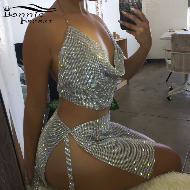 Bonnie Forest Seductive Crystal Diamonds Party Birthday Outfits Sexy Backless Glitter Rhinestone Two Piece Skirt Set Club Wear title=