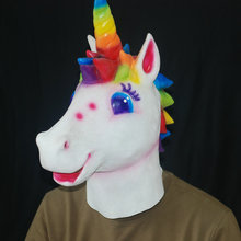 Christmas Party Novelty Unicorn Horse Head Mask New Year Halloween Costume Party Prop Rubber Latex Cosplay Mask
