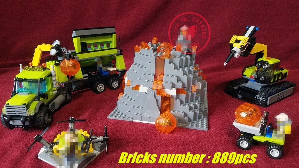 10641 City Volcano Serie the Volcano Exploration Base model Building Blocks Bricks boy Toy compatiable legoes gift kid city set<br>