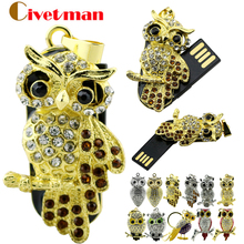 Real capacity Diamond crystal 128GB Pen drive Owl Necklace Usb flash drive 4GB 8GB 16GB 32GB USB Flash 2.0 Memory Drive Stick