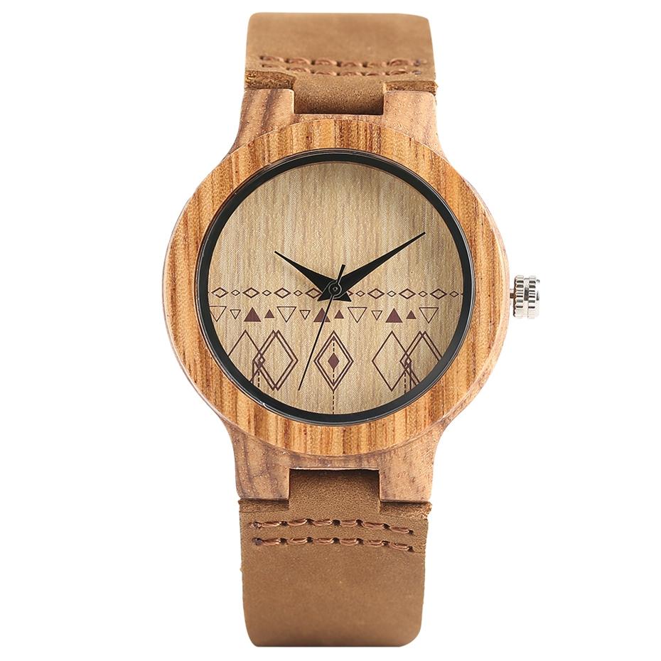 Top Gift Rhombus Dial Women Watch Creative Light Bamboo Wood Wristwatch Fashion Casual Clock Female Genuine Leather Ulzzang 2017 Christmas Gifts (1)