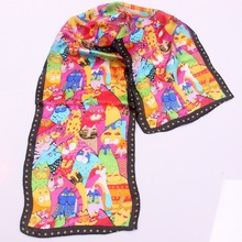 130cm*30cm 2016 New Arrive Summer Autumn Animal Small Cat 100% Silk Scarf For Women Lovely Shawls Printed Scarves(China)