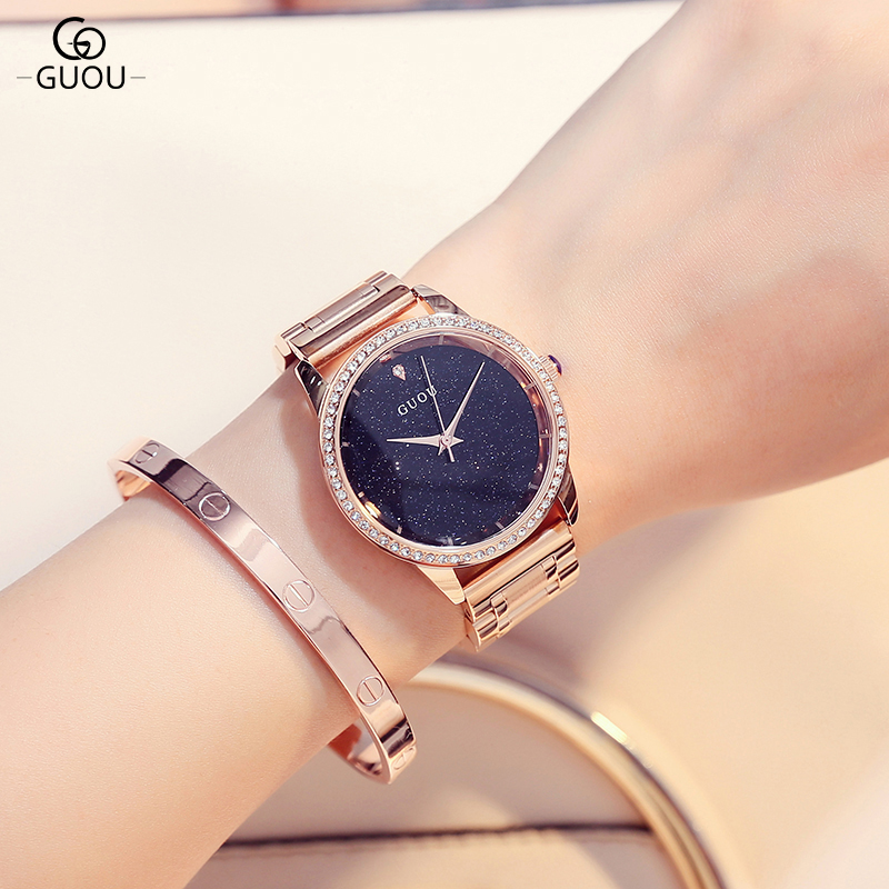 GUOU Luxury Shiny Rhinestone Watch Women Watches Rose Gold Quartz Watches Clock saat montre femme relogio feminino reloj mujer<br>