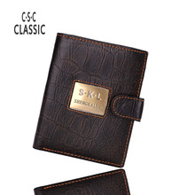 Men wallets Genuine Leather wallets Design skl Men Leather Wallet Vintage Inspired Natural Aged Look carteira coin purse wallets(China)