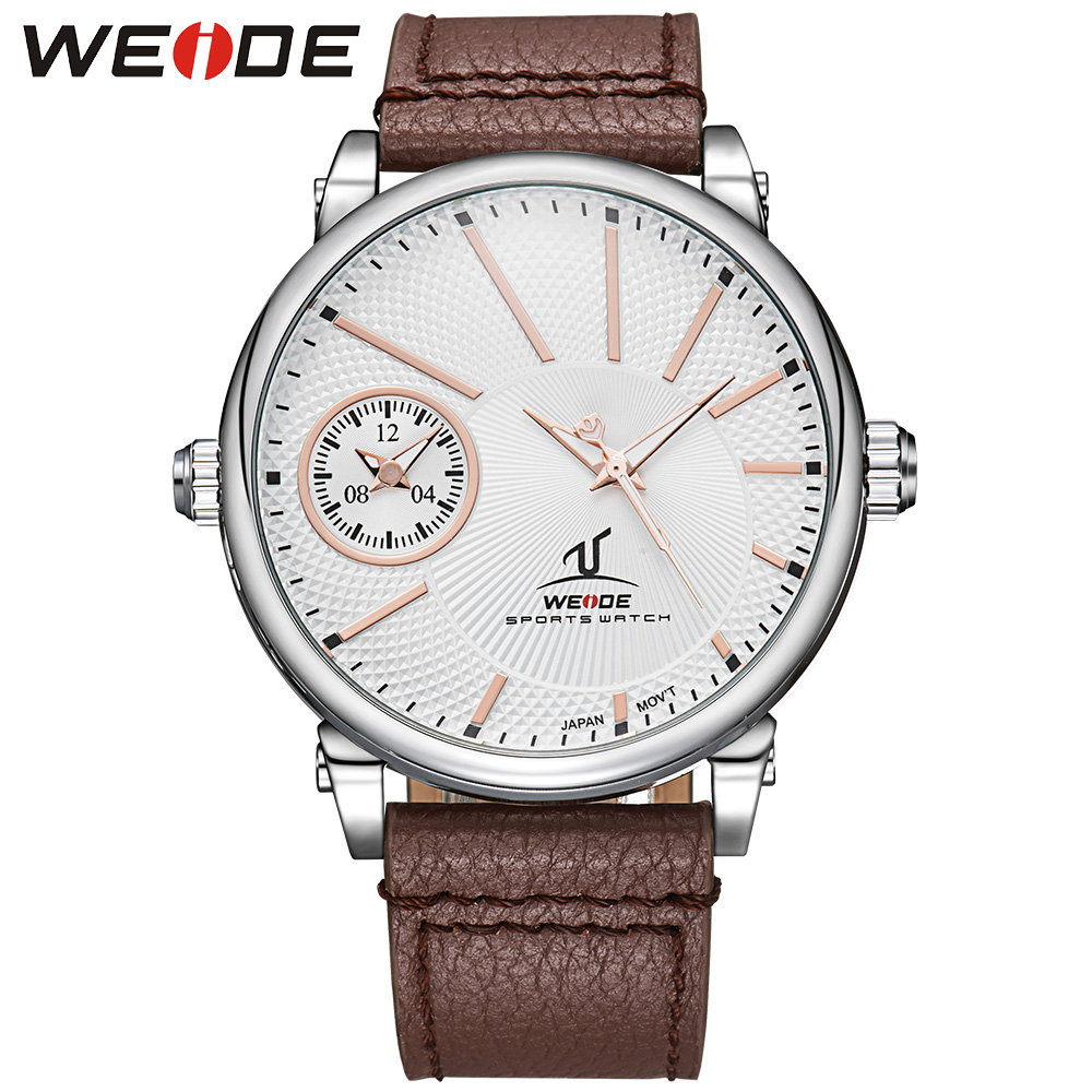 Brand WEIDE Watches Men Quartz Silver White Dial Multiple Time Zone Brown Leather Strap 3ATM Water Resistant Men Casual Watch<br>