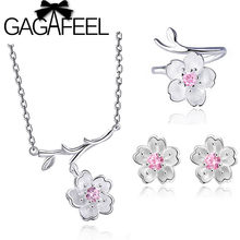 GAGAFEEL 100% 925 Sterling Silver Jewelry Sets Pink Flower Poetic Daisy Cherry Blossom Wedding Engagement Jewelry Drop Shipping(China)
