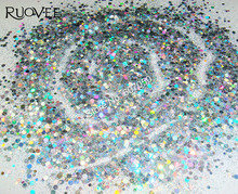 30gram-Holographic Laser Silver Solvent Resistant Round Nail Paillette Spangle Mixed Glitter for Gel Polish Nail Art Decoration