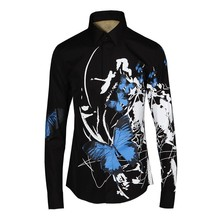 2017 New Mens Shirt Fashion 3D Black ink Printing Butterfly Men Long Sleeve Shirt Male Luxury Palace Casual Cotton Slim Shirts(China)