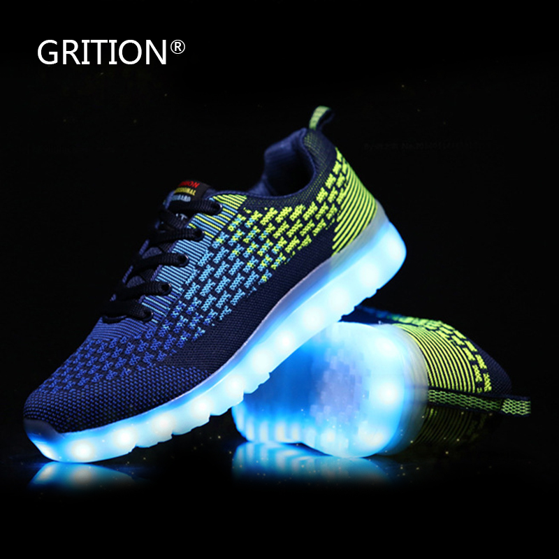 GRITION LED Light Up Shoes for Adults Dance Shoes Luminous Flats Shoes with Lights Tenis led Simulation Zapatillas Mujer<br><br>Aliexpress