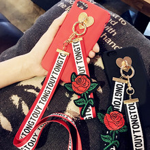 fashion Embroidered roses lanyard strap long chain cover for apple iphone 6 6s plus iPhone 7 7P 8 8P X soft moblie phone Case(China)
