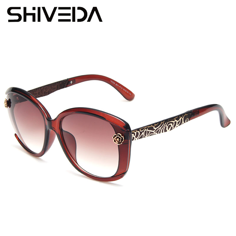 SHIVEDA Gold Tone Pattern Sunglasses  Carving Rose On Frame Women Butterfly Glasses Luxury Plastic Oval Sunwear Outfits 16006NP<br><br>Aliexpress