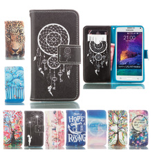 Couqe Wallet Cases For Samsung Galaxy Note 4 N9100 Leather Cover Cute Cat Dream Pattern Mobile Telephone Accessories Funda