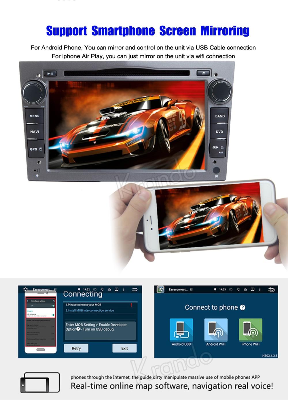 krando android car radio gps for opel universal blcak navigation multimedia system (5)