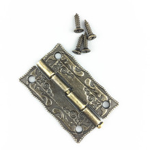 10pcs 180 degrees Furniture hinge 36*23mm archaize Printing hinges wooden box hinge door Lace hinges 4 hole