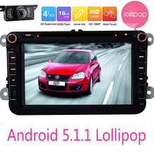 "Android Car Head Unit For VW Android 5.1.1 Lollipop Quad Core 8"" GPS Navigator For Volkswagen Seat Skoda DVD Player+Rear Camera"