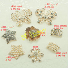 Stick Metal Buttons Flower Rose Gold Plated Clear Rhinestone Embellishment (20pcs /lot