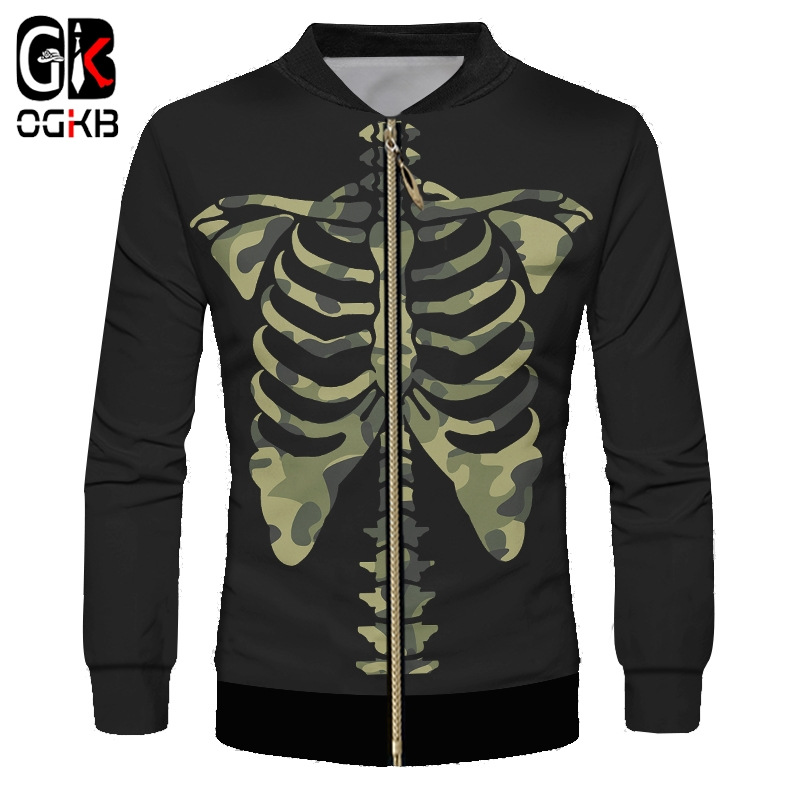 OGKB Men's New Creative Interesting Large Size Zip Jacket Casual Funny 3D Printed Camouflage Skeleton Black Zipper Coat 6XL