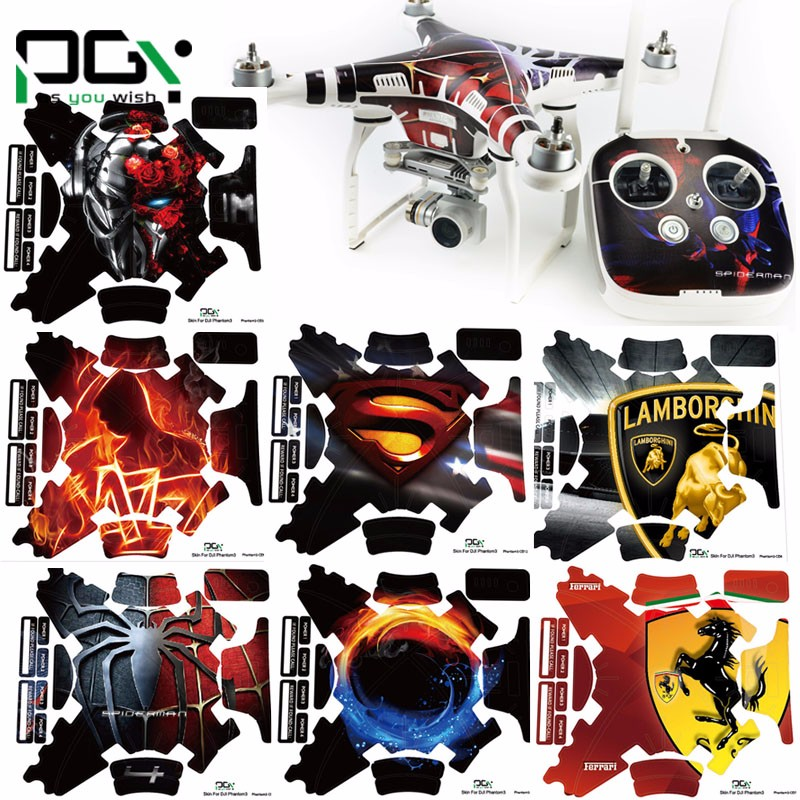 PGY DJI phantom 3 accessories phantom3 stickers 3M Graphic Wrap Skin skins decals Quadcopter drone parts<br><br>Aliexpress