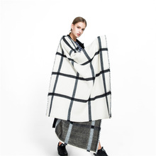 2017 New black white tartan plaid cashmere scarves women winter thick warm blanket scarf lady brand shawl wraps super large(China)
