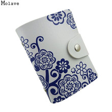Fashion Designer 10 Bits Women Credit Card Holder PU Leather Floral Print Hasp Unisex ID Holders Package Organizer Manager 2017(China)